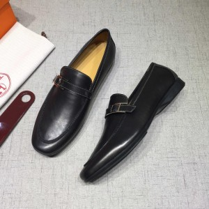 Hermes Black leather Perfect Quality Loafers MS07805