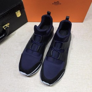 Hermes Fashion Sneakers Blue and Black leather surround with Two-tone sole MS07809