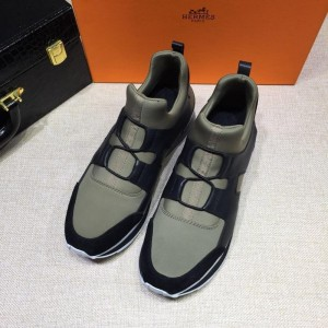 Hermes Fashion Sneakers Gray and Black leather surround with Three-color sole MS07812