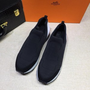 Hermes Fashion Sneakers Dark blue and  White heel MS07813