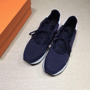 Hermes Fashion Sneakers  Blue and White heel MS07814
