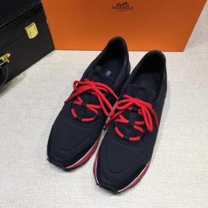 Hermes Fashion Sneakers Black and Black heel MS07815