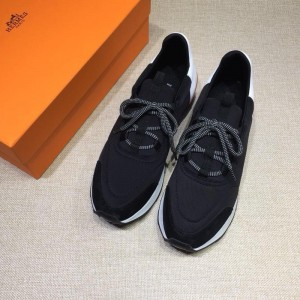 Hermes Fashion Sneakers Black and White heel MS07816