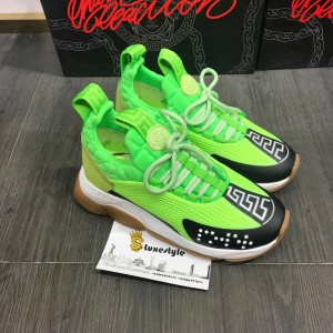 Versace Sneakers Green and black toe with brown rubber sole MS09314