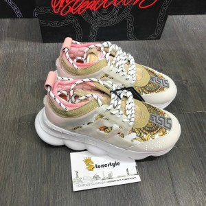 Versace Sneakers White and gold hibiscus print with white rubber sole MS09318
