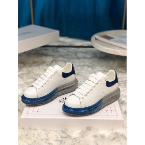 Alexander McQueen Fahion Sneaker White and blue suede heel with transparent sole MS100020
