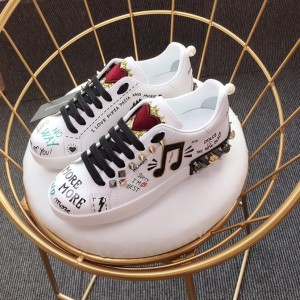 Dolce & Gabbana White and music symbol theme patch with white sole Sneakers MS110010