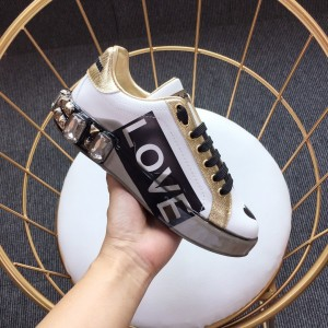 Dolce & Gabbana White and LOVE motif print with white sole Sneakers MS110012