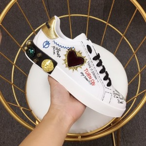Dolce & Gabbana White and heart-shaped patches with white soles Sneakers MS110034