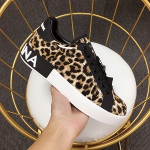 Dolce & Gabbana Leopard print and black heel with white sole Sneakers MS110045
