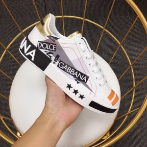 Dolce & Gabbana White and Dolce & Gabbana themed print with white stars sole Sneakers MS110050