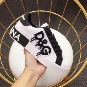 Dolce & Gabbana White and D & G themed 3D embossing with white sole Sneakers MS110051
