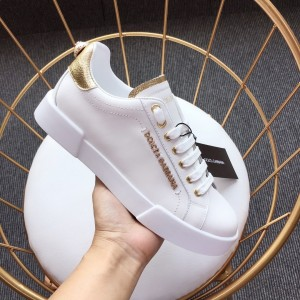 Dolce & Gabbana White and gold heel with white sole Sneakers MS110053