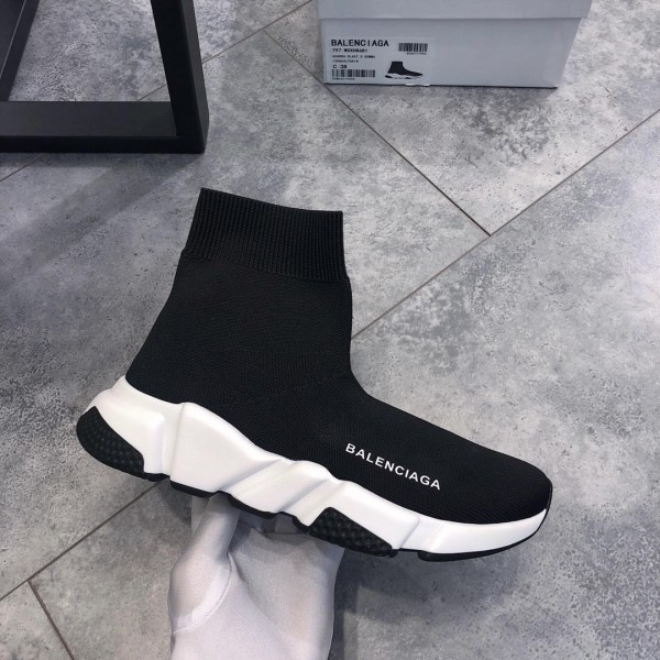 Balenciaga Speed Knitted socks High Quality Sneakers Black and white rubber sole WS980006