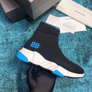 Balenciaga Speed Knitted socks High Quality Sneakers Black and BB printing with blue sole detail WS980033