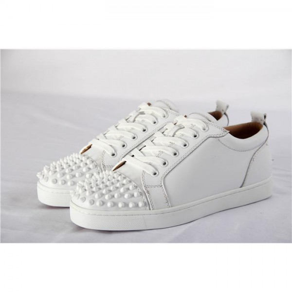 High Quality Christian Louboutin Louis Junior Spikes Mens Flat White Low Top With Spikes