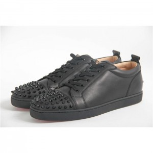 High Quality Christian Louboutin Black Leather Louis Spikes Men'S Flat Low-Top Sneakers