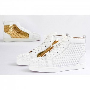 High Quality Christian Louboutin Flat High Top Spikes In Latte And Metallic Gold