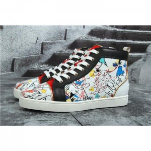 High Quality Christian Louboutin Hand Drawn Loubitag White Leather High Top Sneakers