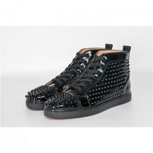 High Quality Christian Louboutin Black Louis Spikes Mens Flat Sneaker