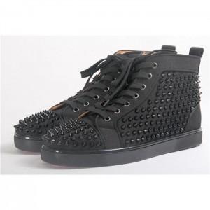 High Quality Christian Louboutin Black Louis Spikes Orlato Men'S Flat Sneakers