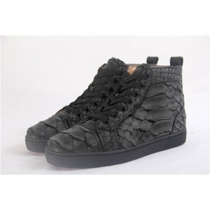 High Quality Christian Louboutin Black Python Louis Flat Sneakers