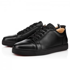 High Quality Christian Louboutin Louis Junior Men'S Flat Leather Low Top Black Sneakers