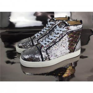 High Quality Christian Louboutin Bip Bip Orlato Silver Sequin High Top Sneakers