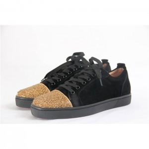 High Quality Christian Louboutin Black Low Top Suede Gold Sneakers For Men