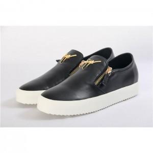 High Quality Giuseppe Zanotti Adam black laceless double zipper low-top sneakers