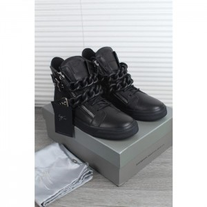 High Quality Giuseppe Zanotti black double chain and black sole sneakers