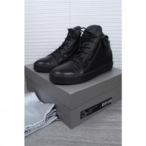 High Quality Giuseppe Zanotti Black Men Tonal Leather Mid Top Sneakers