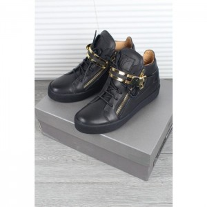 High Quality Giuseppe Zanotti Black Double Bar Strap Leather Mid Top Sneaker