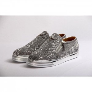 High Quality Giuseppe Zanotti Adam Embellished Slip On Sneakers Metallic