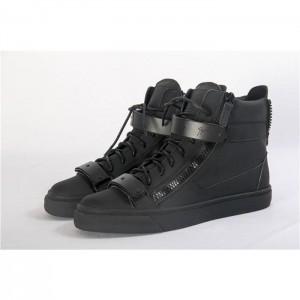 High Quality Giuseppe Zanotti Black Matte Leather Birel London Men Sneakers