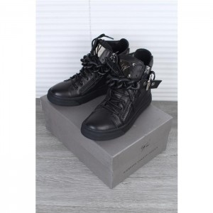 High Quality Giuseppe Zanotti black chain leather high-top sneakers