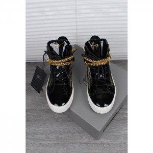 High Quality Giuseppe Zanotti black and gold chain detail high-top sneakers