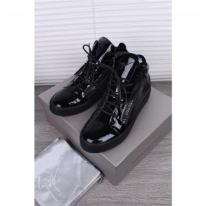 High Quality Giuseppe Zanotti Black Men Patent Leather High Top Sneakers