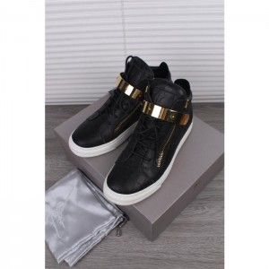 High Quality Giuseppe Zanotti Black Crocodile Embossed High Top Sneaker