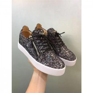 High Quality Giuseppe Zanotti black glitter and white sole low-top sneakers