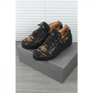 High Quality Giuseppe Zanotti black camouflage double zip Kriss sneakers