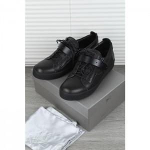 High Quality Giuseppe Zanotti Black Leather Matte Low Top Sneaker