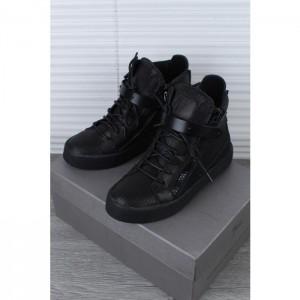 High Quality Giuseppe Zanotti Black Leather Matte High Top Sneaker