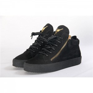 High Quality Giuseppe Zanotti Black Crocodile Embossed Leather Sneakers