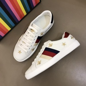 Gucci Fashion Desgin Sneaker White and gold bee embroidery with white sole MS02200