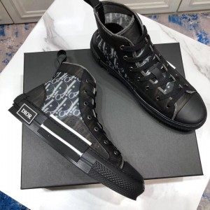 Dior High-top Perfect Quality Sneakers Black and White Dior Oblique Transparent Tech Fabric with Black Sole MS09308 Updated in 2019.08.13
